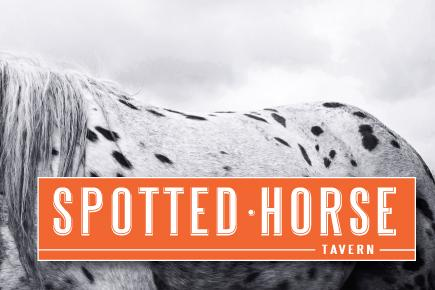 Image of a horse with the Spotted Horse logo