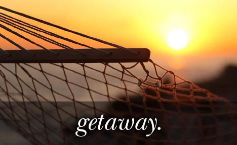 Image of a hammock with the sunset in the background with the text