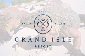 Grande Isle Resort logo with a lizard set as the background