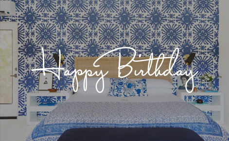 """Gift card image of room with the text """"Happy Birthday"""""""
