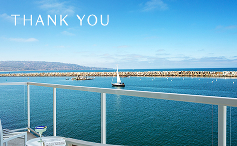 """Gift card image of the view from the balcony with the text """"Thank You"""""""