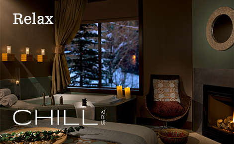 "Gift card image of the spa with the text ""Relax"" and the Chill Spa logo"