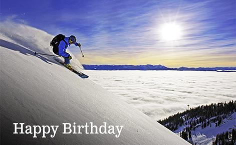 "Gift card image of skier coming down the mountain with the text ""Happy Birthday"