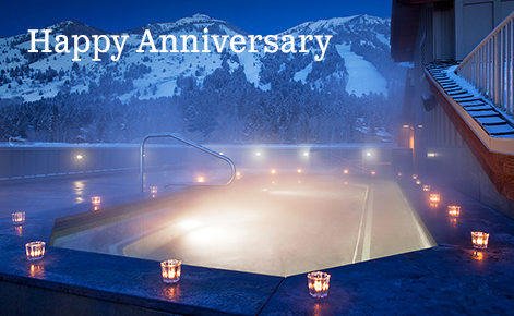 """Gift card image of hot tub at night with the text """"Happy  Anniversary"""""""