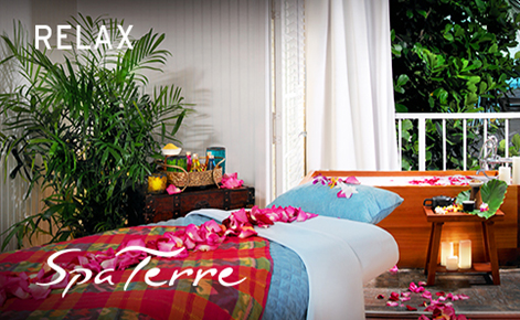 """Gift card image of the spa with the text """"Relax"""" and the Spa Terre logo"""