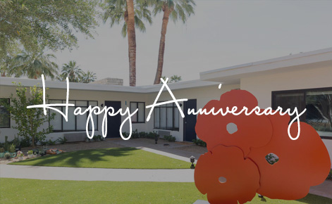 """Gift card image of the exterior of the hotel with the text """"Happy Anniversary"""""""