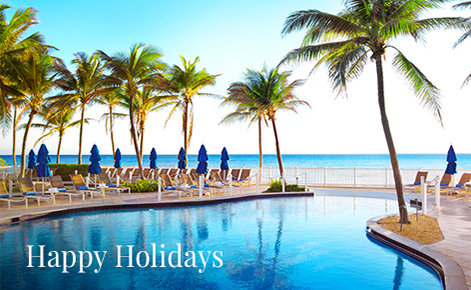 "Gift card image of the swimming pool with the text ""Happy Holidays"""