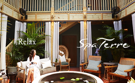 "Gift card image of the Spa with the text ""Relax"" and the Spa Terre logo"