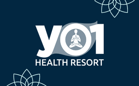Gift card image of YO1 Health Resort logo on a navy background