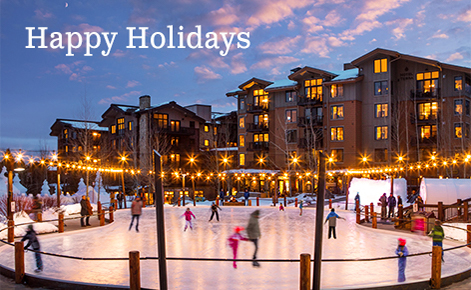"""Gift card image of ice rink at night with the text """"Happy  Holidays"""""""