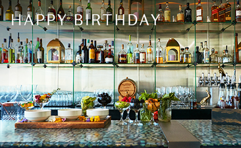 """Gift card image of the bar with the text """"Happy Birthday"""""""