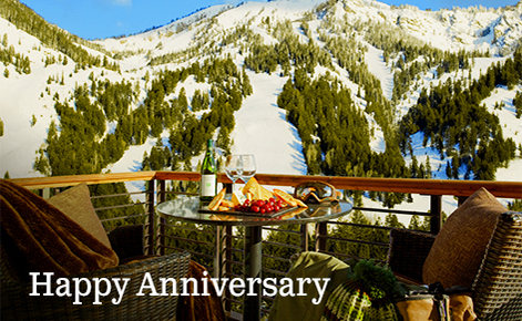 "Gift card image of the view form a room balcony with the text ""Happy Anniversary"""