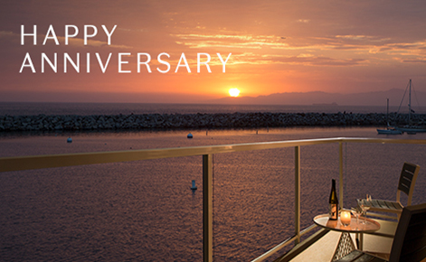 """Gift card image of view from room balcony at sunset with the text """"Happy Anniversary"""""""