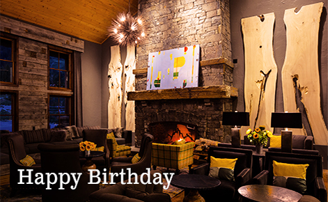 """Gift card image of the lounge with the text """"Happy  Birthday"""""""
