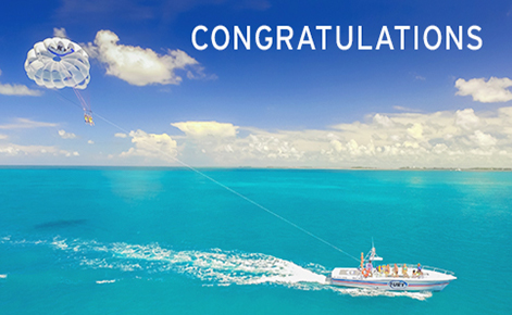"""Gift card image of parasailing with the text """"Congratulations"""""""