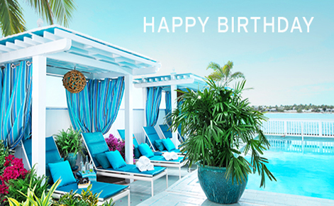 """Gift card image of the pool with the text """"Happy Birthday"""""""