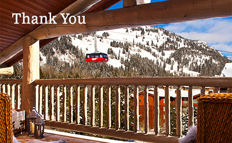 """Gift card image of the view from a room balcony looking  out across the mountains with the text """"Thank You"""""""
