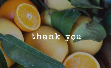 """Gift card image of close up shot of oranges with the text """"Thank You"""""""
