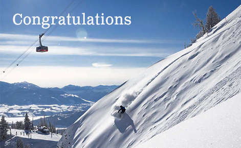 """Gift card image of snowboarder coming down the mountain with a cable car in the background with the text """"Congratulations"""""""