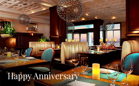 "Gift card image of the restaurant with the text ""Happy Anniversary"""